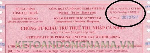 Chứng từ thuế TNCN