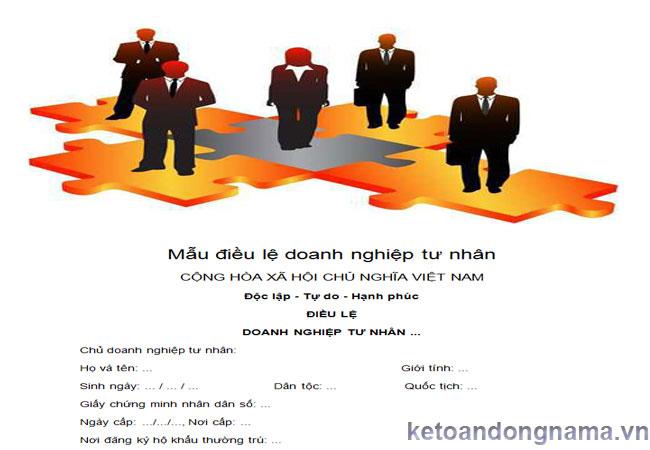 Mẫu điều lệ doanh nghiệp tư nhân
