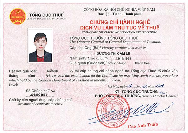 Chứng chỉ hành nghề dịch vụ kế toán của chị Dương Thị Cẩm Lệ