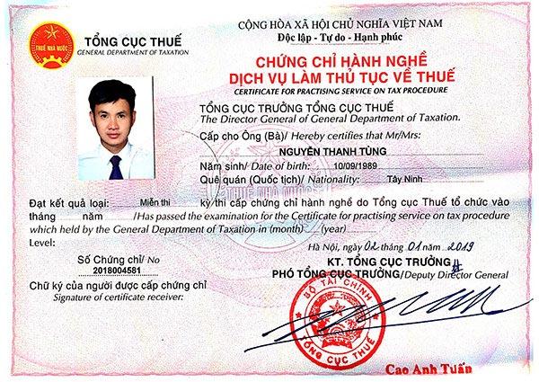 Chứng chỉ hành nghề dịch vụ kế toán của anh Nguyễn Thanh Tùng